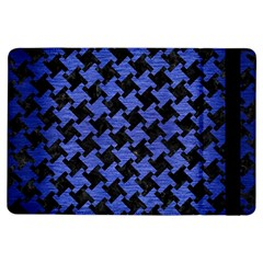 Houndstooth2 Black Marble & Blue Brushed Metal Apple Ipad Air Flip Case by trendistuff