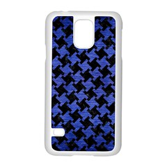 Houndstooth2 Black Marble & Blue Brushed Metal Samsung Galaxy S5 Case (white) by trendistuff