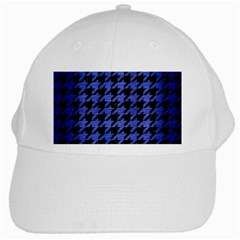 Houndstooth1 Black Marble & Blue Brushed Metal White Cap by trendistuff