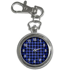 Houndstooth1 Black Marble & Blue Brushed Metal Key Chain Watch by trendistuff