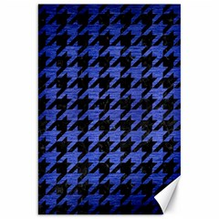 Houndstooth1 Black Marble & Blue Brushed Metal Canvas 20  X 30  by trendistuff