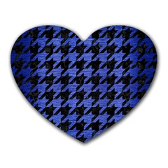 Houndstooth1 Black Marble & Blue Brushed Metal Heart Mousepad by trendistuff