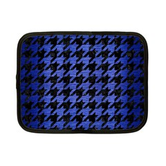 Houndstooth1 Black Marble & Blue Brushed Metal Netbook Case (small) by trendistuff