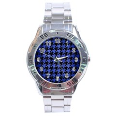 Houndstooth1 Black Marble & Blue Brushed Metal Stainless Steel Analogue Watch by trendistuff