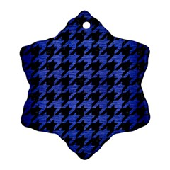 Houndstooth1 Black Marble & Blue Brushed Metal Snowflake Ornament (two Sides) by trendistuff