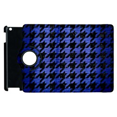 Houndstooth1 Black Marble & Blue Brushed Metal Apple Ipad 2 Flip 360 Case by trendistuff