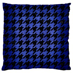 Houndstooth1 Black Marble & Blue Brushed Metal Standard Flano Cushion Case (two Sides) by trendistuff