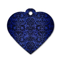 Damask2 Black Marble & Blue Brushed Metal (r) Dog Tag Heart (two Sides) by trendistuff