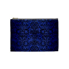 Damask2 Black Marble & Blue Brushed Metal (r) Cosmetic Bag (medium) by trendistuff