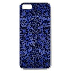 Damask2 Black Marble & Blue Brushed Metal (r) Apple Seamless Iphone 5 Case (clear) by trendistuff