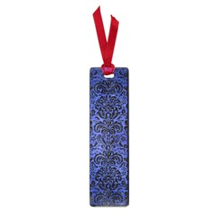 Damask2 Black Marble & Blue Brushed Metal (r) Small Book Mark by trendistuff