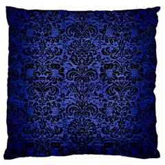 Damask2 Black Marble & Blue Brushed Metal (r) Large Flano Cushion Case (two Sides) by trendistuff