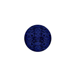 Damask2 Black Marble & Blue Brushed Metal 1  Mini Magnet by trendistuff