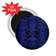 Damask2 Black Marble & Blue Brushed Metal 2 25  Magnet (10 Pack) by trendistuff