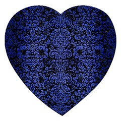 Damask2 Black Marble & Blue Brushed Metal Jigsaw Puzzle (heart) by trendistuff