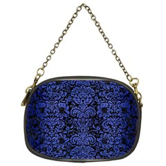 Damask2 Black Marble & Blue Brushed Metal Chain Purse (two Sides) by trendistuff