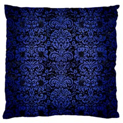 Damask2 Black Marble & Blue Brushed Metal Standard Flano Cushion Case (one Side) by trendistuff