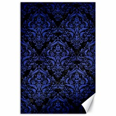 Damask1 Black Marble & Blue Brushed Metal Canvas 24  X 36