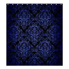 Damask1 Black Marble & Blue Brushed Metal Shower Curtain 66  X 72  (large) by trendistuff