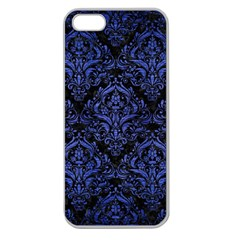 Damask1 Black Marble & Blue Brushed Metal Apple Seamless Iphone 5 Case (clear) by trendistuff
