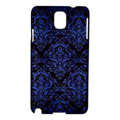 Damask1 Black Marble & Blue Brushed Metal Samsung Galaxy Note 3 N9005 Hardshell Case by trendistuff