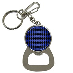 Diamond1 Black Marble & Blue Brushed Metal Bottle Opener Key Chain by trendistuff