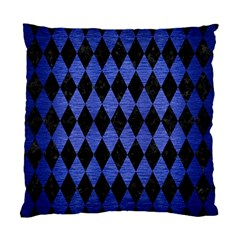 Diamond1 Black Marble & Blue Brushed Metal Standard Cushion Case (one Side) by trendistuff
