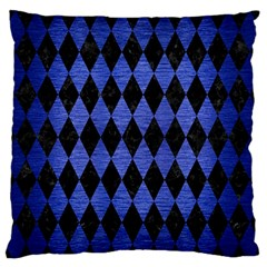 Diamond1 Black Marble & Blue Brushed Metal Large Flano Cushion Case (one Side) by trendistuff