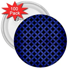 Circles3 Black Marble & Blue Brushed Metal 3  Button (100 Pack) by trendistuff