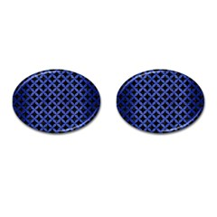 Circles3 Black Marble & Blue Brushed Metal Cufflinks (oval) by trendistuff