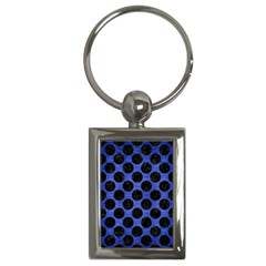 Circles2 Black Marble & Blue Brushed Metal (r) Key Chain (rectangle) by trendistuff