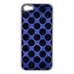 Circles2 Black Marble & Blue Brushed Metal (r) Apple Iphone 5 Case (silver) by trendistuff