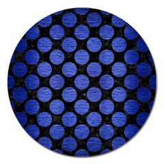 Circles2 Black Marble & Blue Brushed Metal Magnet 5  (round) by trendistuff