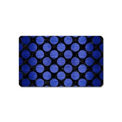 Circles2 Black Marble & Blue Brushed Metal Magnet (name Card) by trendistuff