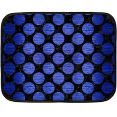 Circles2 Black Marble & Blue Brushed Metal Double Sided Fleece Blanket (mini) by trendistuff