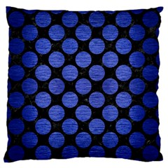 Circles2 Black Marble & Blue Brushed Metal Standard Flano Cushion Case (one Side) by trendistuff