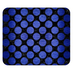 Circles2 Black Marble & Blue Brushed Metal Double Sided Flano Blanket (small) by trendistuff