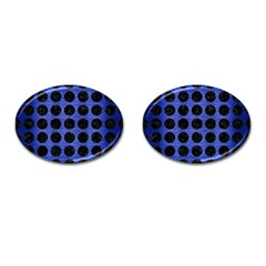 Circles1 Black Marble & Blue Brushed Metal (r) Cufflinks (oval) by trendistuff