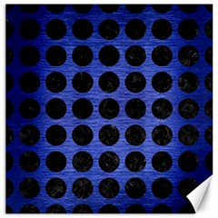 Circles1 Black Marble & Blue Brushed Metal (r) Canvas 12  X 12  by trendistuff