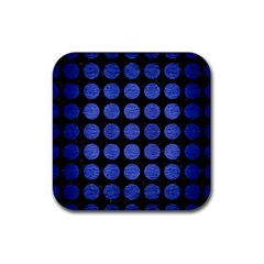Circles1 Black Marble & Blue Brushed Metal Rubber Square Coaster (4 Pack) by trendistuff
