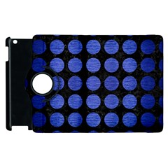 Circles1 Black Marble & Blue Brushed Metal Apple Ipad 2 Flip 360 Case
