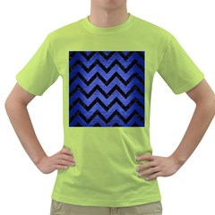 Chevron9 Black Marble & Blue Brushed Metal (r) Green T Shirt by trendistuff