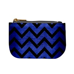 Chevron9 Black Marble & Blue Brushed Metal (r) Mini Coin Purse by trendistuff