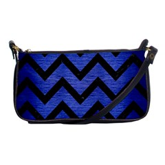 Chevron9 Black Marble & Blue Brushed Metal (r) Shoulder Clutch Bag by trendistuff