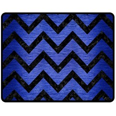 Chevron9 Black Marble & Blue Brushed Metal (r) Fleece Blanket (medium) by trendistuff