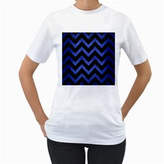 Chevron9 Black Marble & Blue Brushed Metal Women s T Shirt (white) (two Sided) by trendistuff