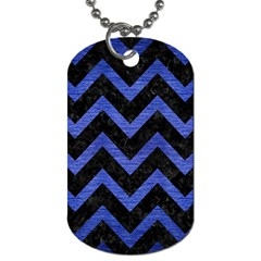 Chevron9 Black Marble & Blue Brushed Metal Dog Tag (one Side) by trendistuff