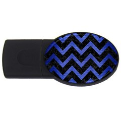Chevron9 Black Marble & Blue Brushed Metal Usb Flash Drive Oval (2 Gb) by trendistuff