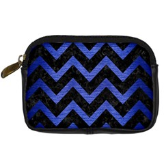 Chevron9 Black Marble & Blue Brushed Metal Digital Camera Leather Case by trendistuff