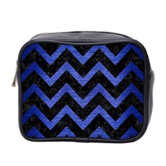 Chevron9 Black Marble & Blue Brushed Metal Mini Toiletries Bag (two Sides) by trendistuff
